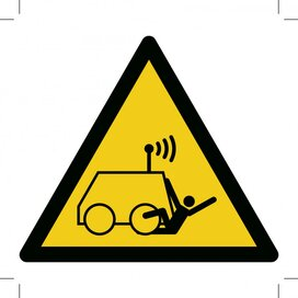 W037: Warning; Run Over By Remote Operator Controlled Machine 100x100 (sticker)