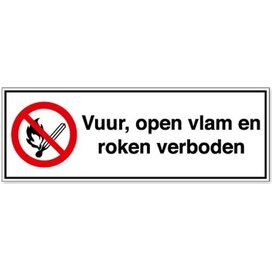 Vuur, Open Vlam En Roken Verboden (sticker)