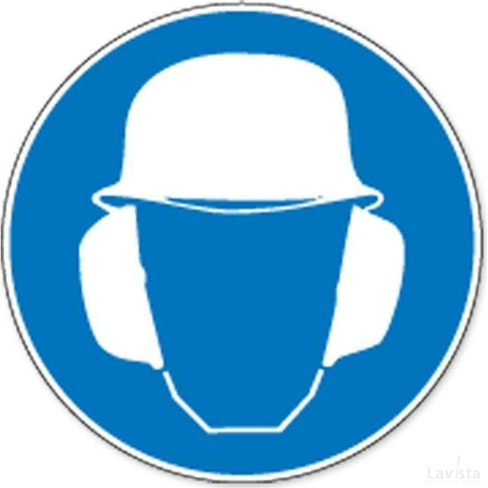 Veiligheidshelm En Gehoorbescherming Verplicht (sticker)