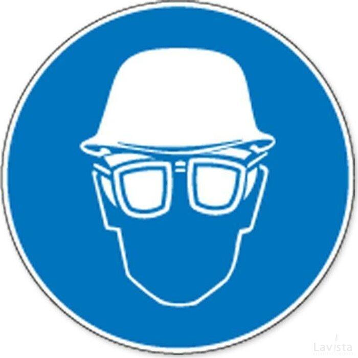 Veiligheidshelm En Oogbescherming Verplicht (sticker)