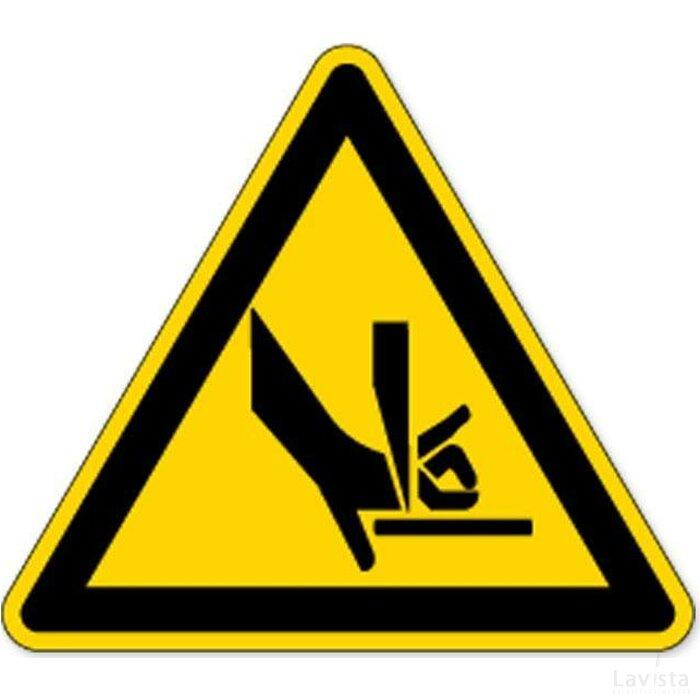 Waarschuwing; Handverbrijzeling Tussen Buigbank (Sticker)