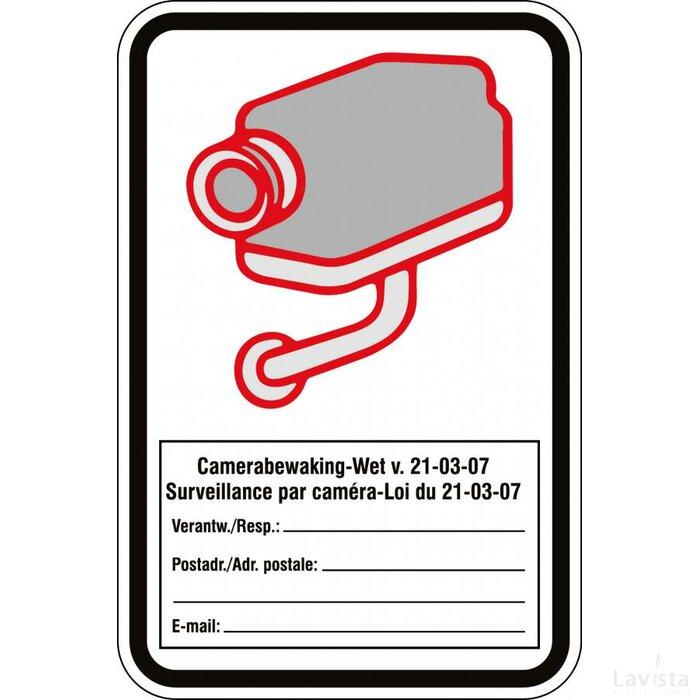 Waarschuwing;  Camerabewaking (sticker)