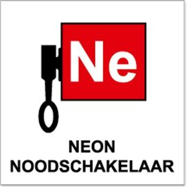 Locatieaanduiding Neon Noodschakelaar (Sticker)