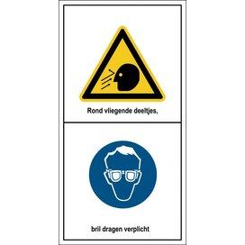 Gevaar Voor Rondvliegende Deeltjes, Bril Dragen Verplicht (Sticker)