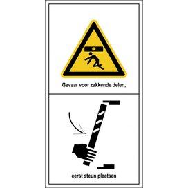 Gevaar Voor Zakkende Delen, Eerst Steun Plaatsen (Sticker)