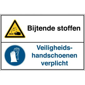 Bijtende Stoffen /veiligheidshandschoenen Verplicht (sticker)