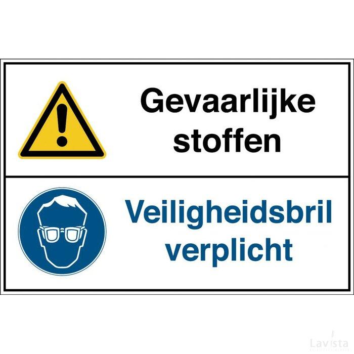 Gevaarlijke Stoffen / Veiligheidsbril Verplicht (Sticker)