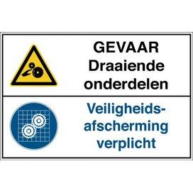 Gevaar Draaiende Onderdelen /veiligheidsafscherming Verplicht (Sticker)