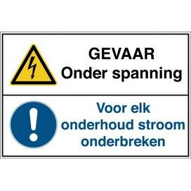 Gevaar, Onder Spanning /voor Elk Onderhoud Stroomonderbreken (sticker)