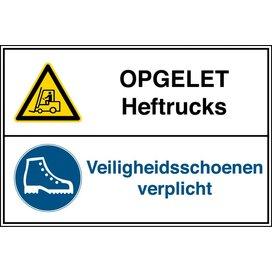 Heftrucks Verboden/veiligheidsschoenen Verplicht (Sticker)