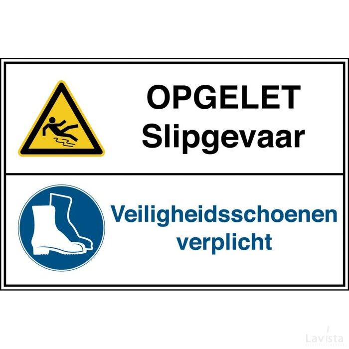 Opgelet, Slipgevaar / Veiligheidsschoenen Verplicht (Sticker)