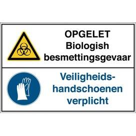 Opgelet, Biologisch Besmettingsgevaar /veiligheidshandschoenen Verplicht (Sticker)