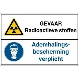 Gevaar Radioactive Stoffen / Ademhalingsbescherming Verplicht (Sticker)