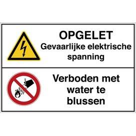 Opgelet Gevaarlijke Elektrische Spanning / Verboden Met Water Te Blussen (Sticker)