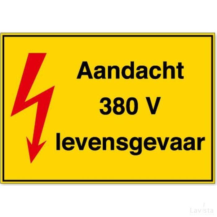 Aandacht 380 V Levensgevaar (sticker)