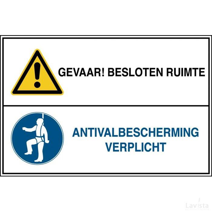 Gevaar! Besloten Ruimte / Antivalbescherming Verplicht (sticker)