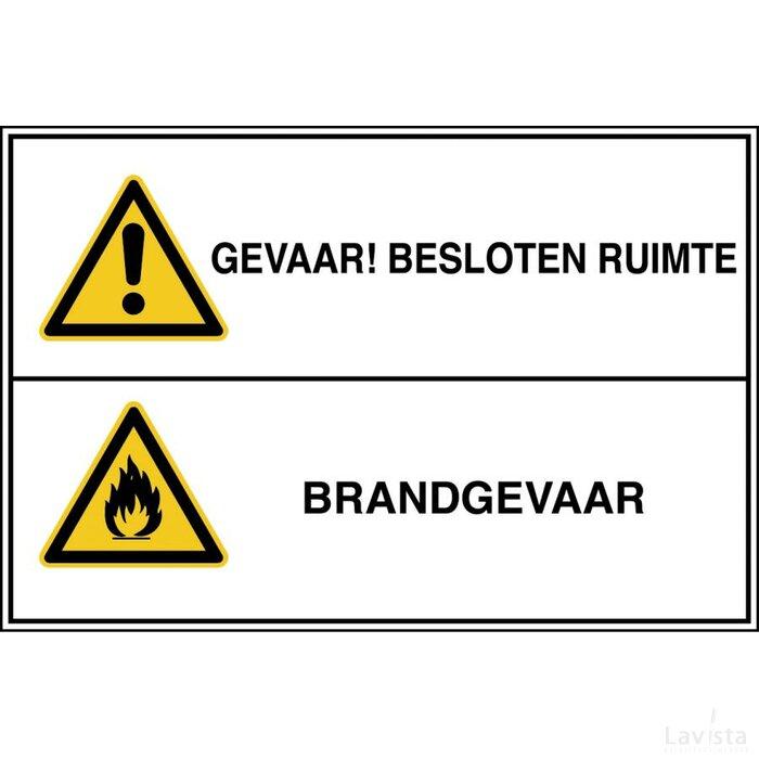 Gevaar! Besloten Ruimte / Brandgevaar (sticker)