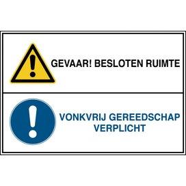 Gevaar! Besloten Ruimte / Vonkvrij Gereedschap Verplicht (sticker)