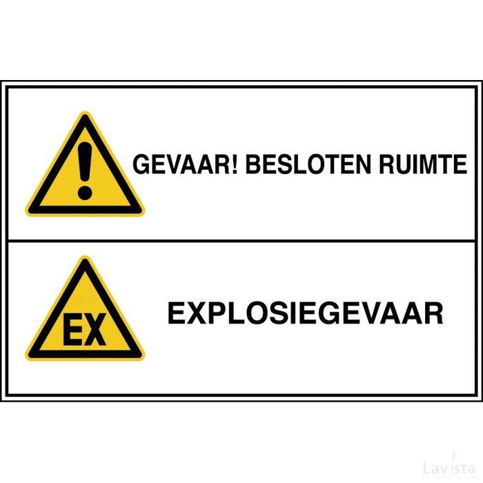 Gevaar! Besloten Ruimte / Explosiegevaar (sticker)