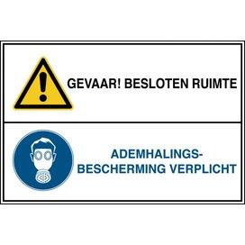 Gevaar! Besloten Ruimte / Ademhalingsbescherming Verplicht (sticker)