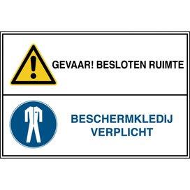 Gevaar! Besloten Ruimte / Beschermkledij Verplicht (Sticker)